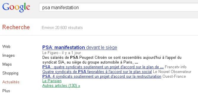 Grosse surprise, seul le Figaro parle de manifestation, les 3 autres  réponses titrent sur le fait que 4 syndicats ont voté le plan social. e2f4cdbca7c